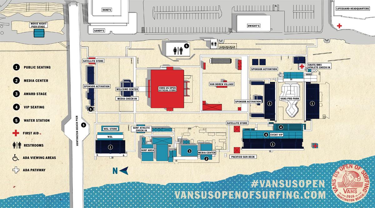 Vans US Open Huntington Beach Site Map