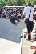Ishod going frontside over the hip in the world's most crowded bowl.