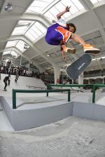 No we're at the Copenhagen Skatepark. Kevin Bradley, 360 flip.
