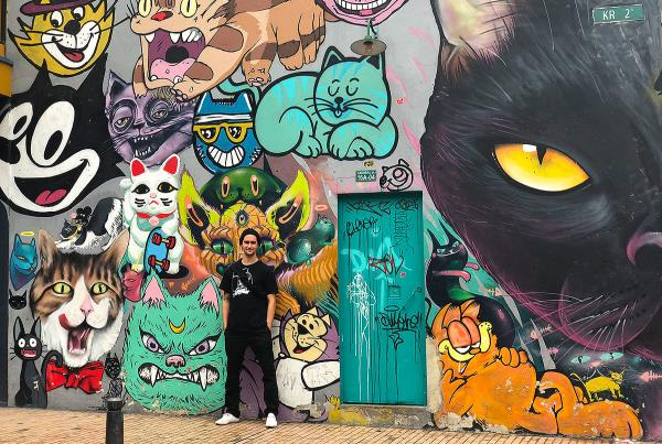 Day Off in Bogota - Cat wall.