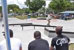 Brody Silbert with the feeble grind for the judges.