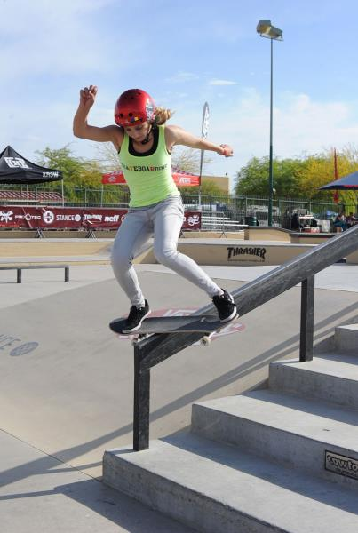 Alana Smith Skateboarding Lipslide at Phoenix Am