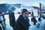 I took the GoPro out on the slopes but I'm not very good at snowboarding so I couldn't really use it that much. This is Rob and I waiting to get some snowboard boots.