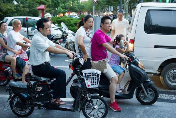 Babies on Scooters in China