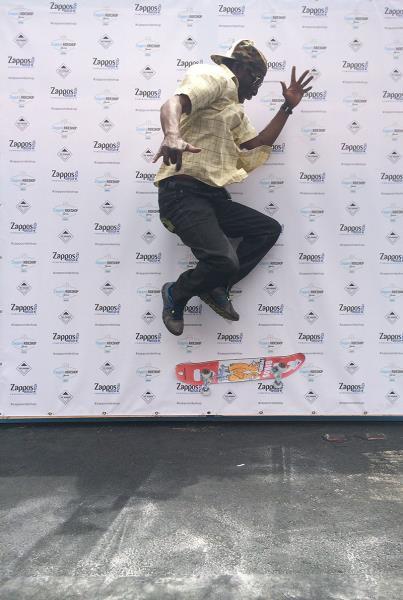Old Man Skateboarding in Vegas