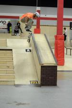 Carlos Mendoza won the 16 to 29 Street Division. He couldn't be denied with tricks like this kickflip 50-50.