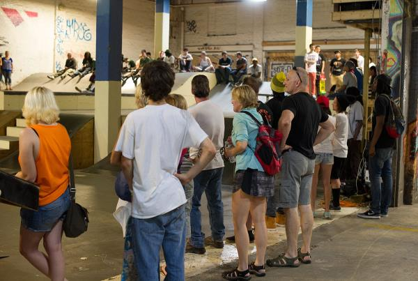 Crowd at Charm City Skatepark Maryland