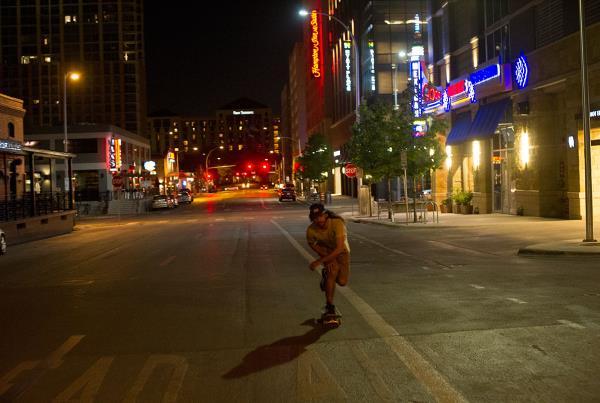 Pushing Through Downtown Austin