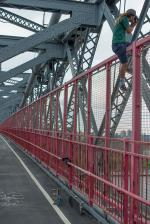 Porpe Skateboarding Over the Williamsburg Bridge