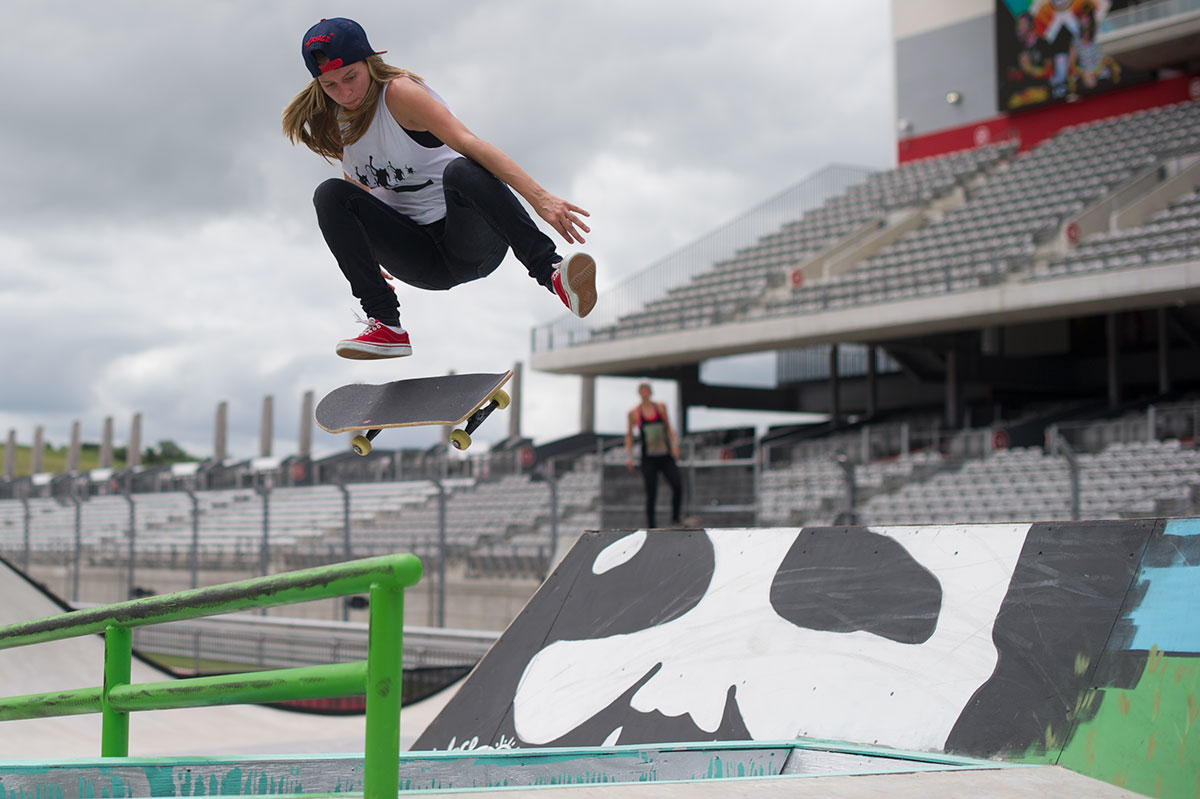 Jessica Florencio Kickflip at X Games