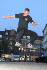 Zach Gosteli climbed out of the bowl to get flat ground photo on the streets of Copenhagen.