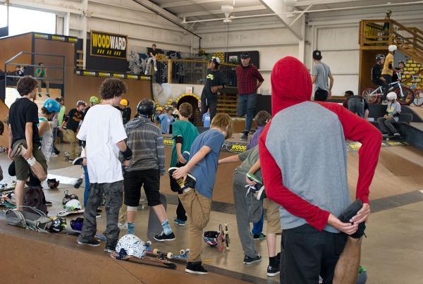 Stretching at Woodward Skateboard Camp