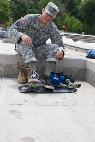 Off Duty Military Skateboarding at House Park