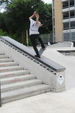 Max Taylor with a frontside bluntslide for the No Comply team.