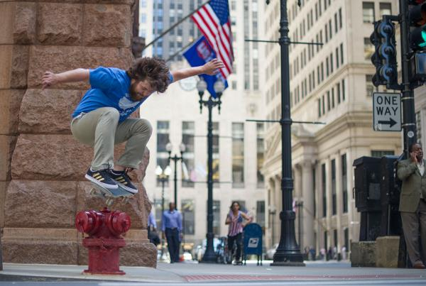 Scotty Conley Ollies a Fire Hydrant in Chicago