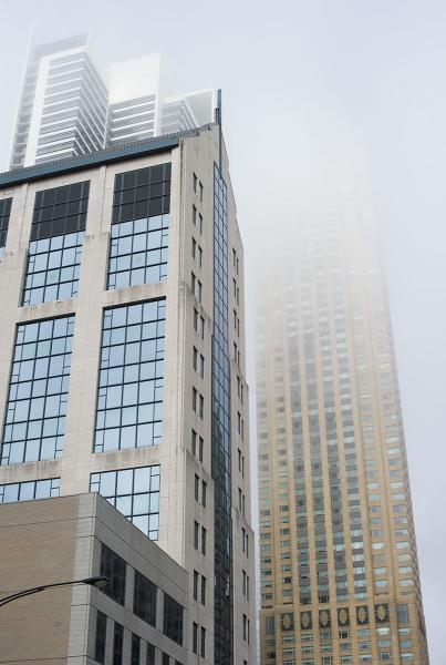 Fog Downtown in Chicago