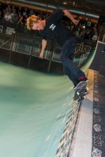 Chad Bartie showed his veteran skills in the way he skated it.  That's a frontside 270 to backside nosepick.