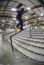 Tre Williams with a backside noseblunt down the 10 stair rail.