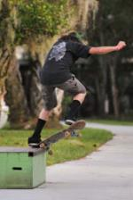 Alejandro Burnell crooked grinds the obstacle that I avoid most on my driveway.