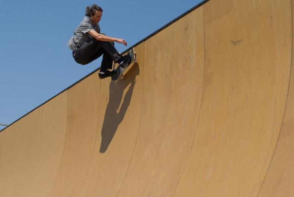 Evan Smith Warms up on the Vert Ramp