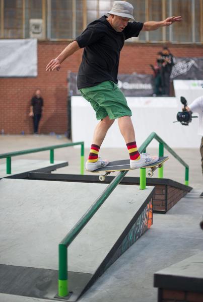Mark Gonzales Frontside Boardslide at Dew Tour Brooklyn