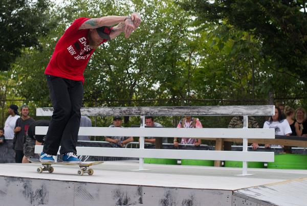 Mike V in the Pipeline at Dew Tour Brooklyn