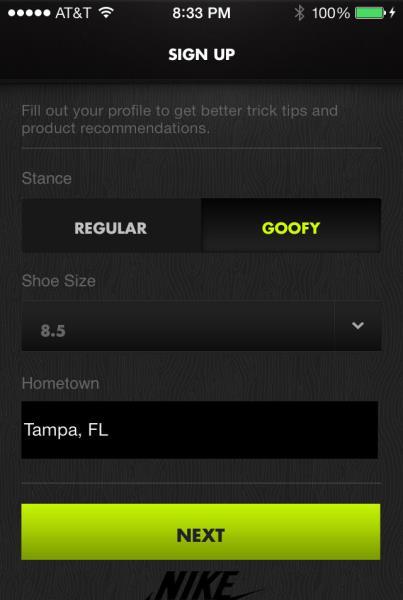 Nike SB App: Profile Setup