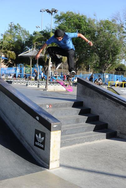 Enzo Nollie Flipping at adidas Skate Copa LA