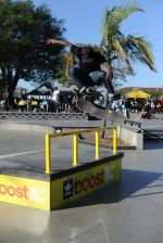Tre Williams switch flipping the Boost the Bar.