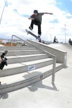 Enzo Cautela has a big bag of tricks. Here is a 360 flip lipslide down the rail.