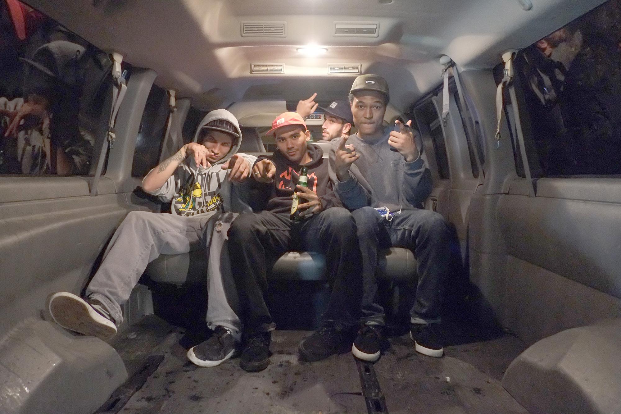 Robbie, Josh, and James in the Van