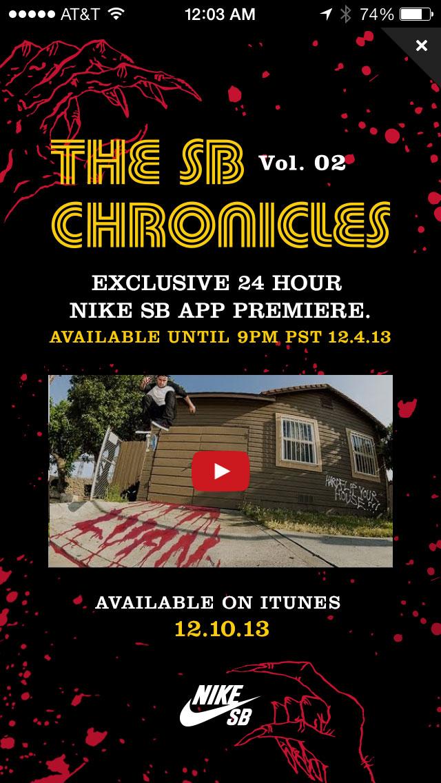 Nike SB In-App Chronicles 2 Premiere