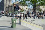 Alex Mizurov won it with big snaps like this frontside flip over the trash can.