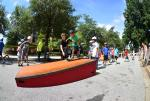 Jereme Knibbs had a line of kids ready to learn a little skatboarding.