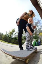You got to start them young, but if Levi is anything like his dad Abdias, he won't have any problems skateboarding.