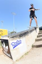 This board slide got Jeff Wolcott into 1st place in the 30 and up street division.