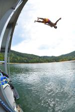 Jorge going head first into Norris Lake.