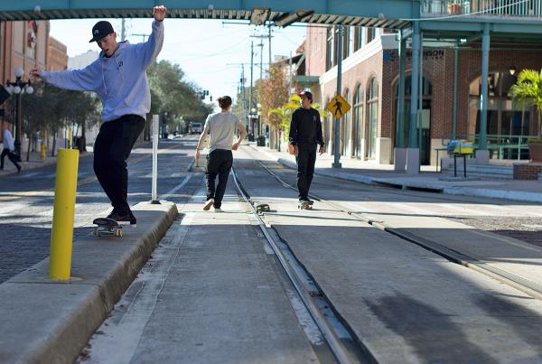 Skateboarding Downtown Tampa and Ybor - Trolley