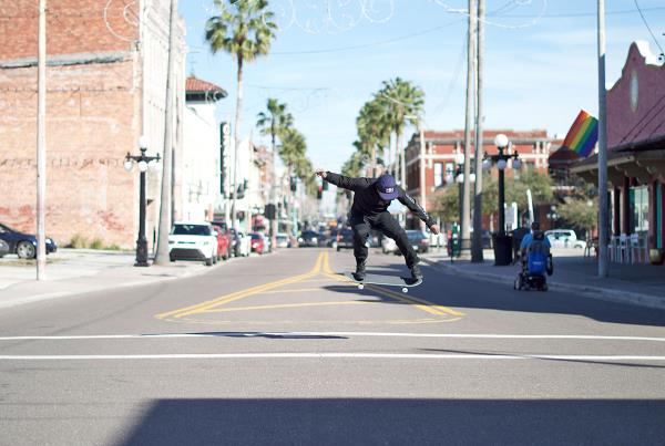Skateboarding Downtown Tampa and Ybor - Switch Flip