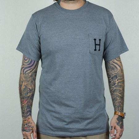HUF Classic H Pocket T Shirt Grey, Black