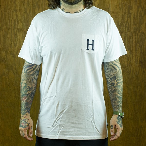 HUF Classic H Pocket T Shirt White, Navy