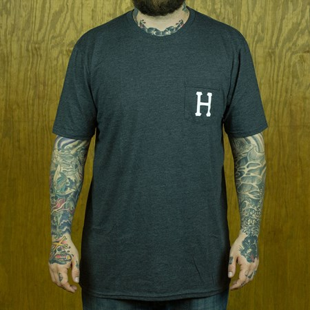 HUF Classic H Pocket T Shirt Dark Charcoal Heather