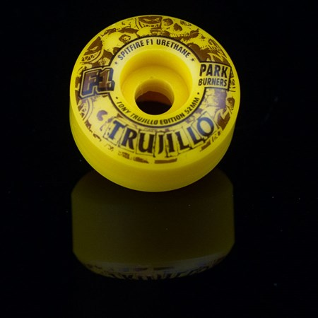 Spitfire Wheels F1 Park Burner Tony Trujillo Skidmarks Wheels Swirl in stock now.