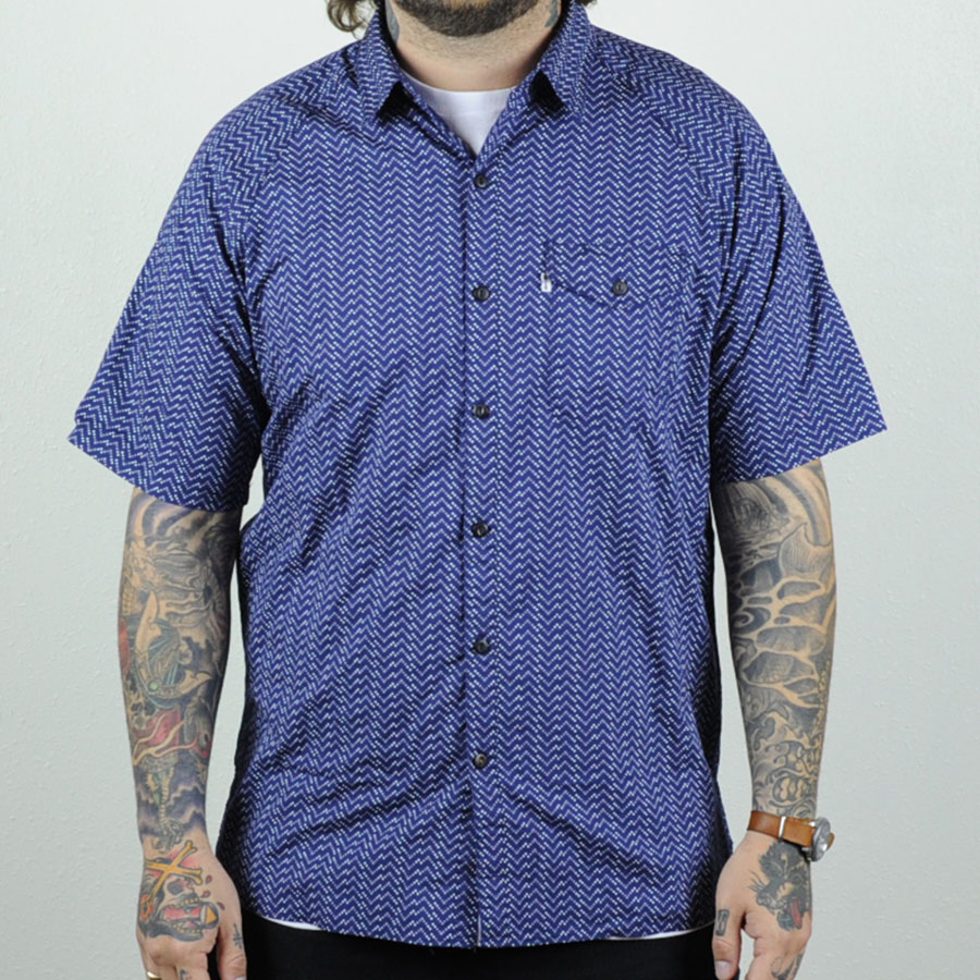 Patriot Blue Moon Phase Button Ups and Wovens Skate Short Sleeve Manual Shirt in Stock Now