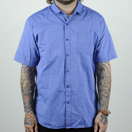 Volcom Weirdoh Solid Short Sleeve Woven Shirt True Blue