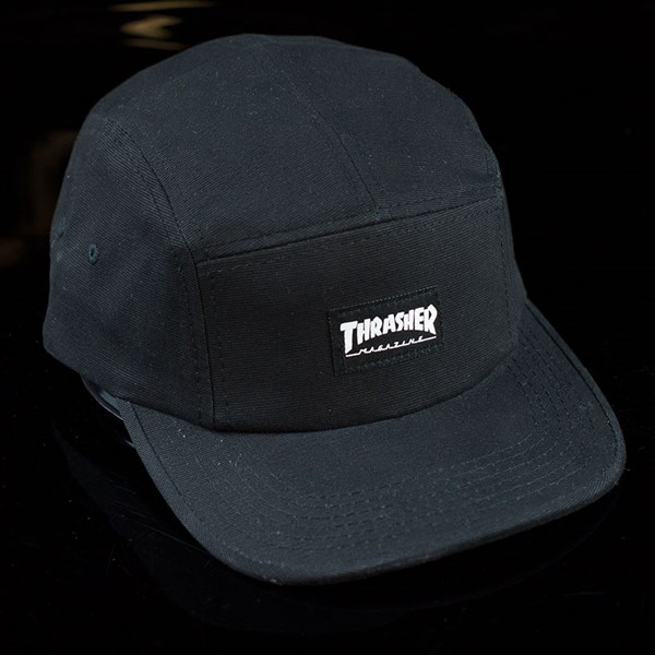 7d9328e455b Thrasher 5 Panel Hat Black In Stock at The Boardr
