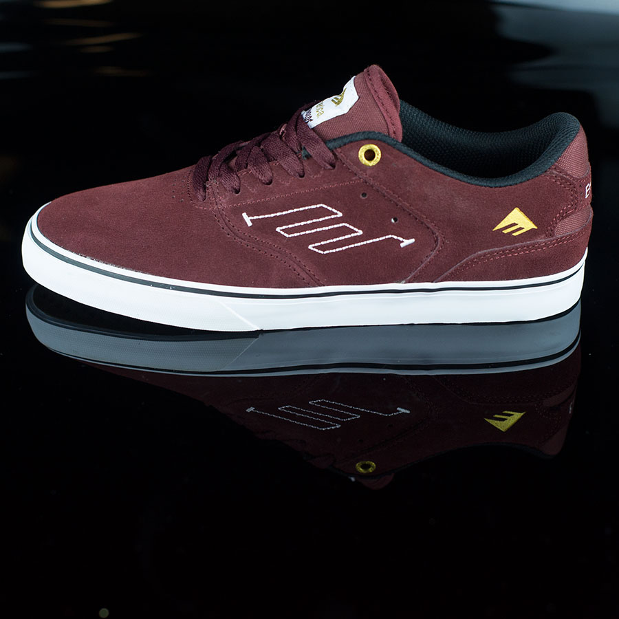 Burgundy, White Shoes The Reynolds Low Vulc Shoes in Stock Now