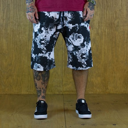 Size Large in Asphalt Yacht Club Clash Fleece Shorts, Color: Black, White