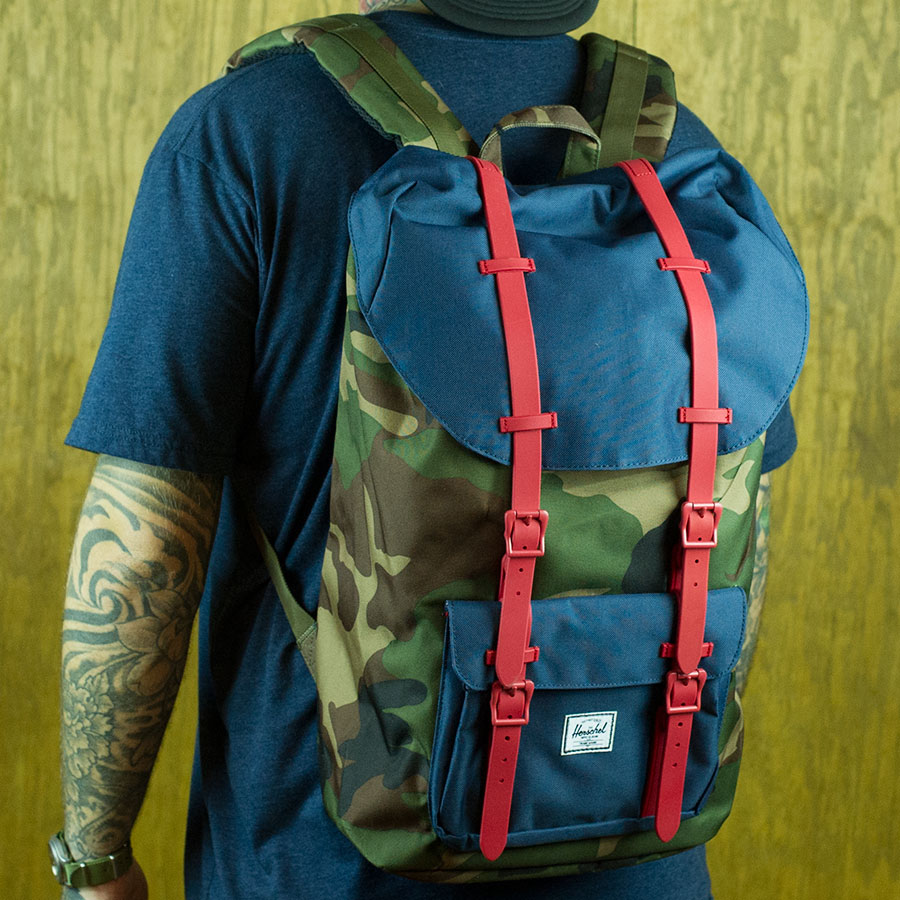 Woodland Camo, Navy, Red Backpacks and Bags Little America Backpack in Stock Now