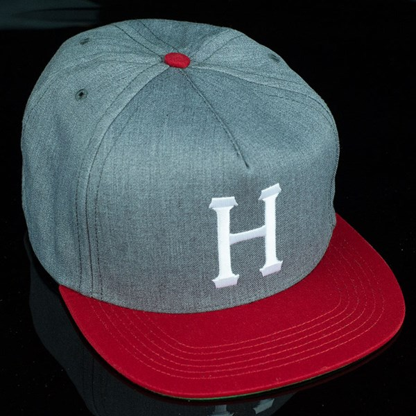 HUF Classic H Snap Back Hat Heather Grey, Red